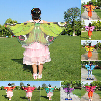 Butterfly Wings Fancy Dress Dress Up Kids Girls Boys Cloak Scarf Shawl Cape Wrap