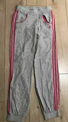 Adidas Girl's Grey Pink Fleece Jogging Trousers Size 13-14Y Marks 31L