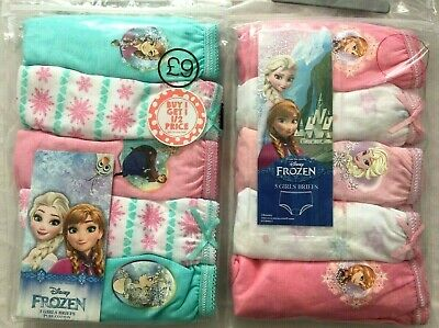 ~Girls Official Disney Frozen Elsa Pink Cotton 5 Pack Knickers Underwear Pants ~