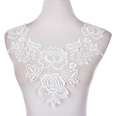 Embroidered Floral Lace Neckline Neck Collars Trims Clothes Sewing Applique OS