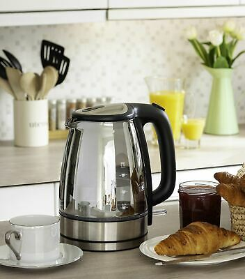 Sensio Home Electric Cordless Chrome Glass Kettle 1.7L