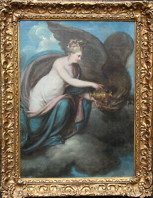 ENGLISH SCHOOL LATE 18thC MYTHOLOGICAL ART OIL PAINTING HEBE AND ZEUS AS EAGLE
