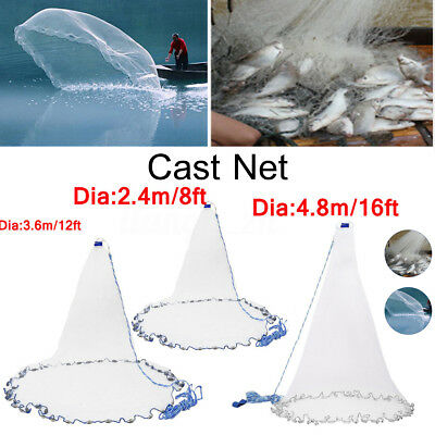 "3/8"" 8Ft/12Ft/16Ft Mesh Cast Net Saltwater Bait Casting Net with Real Sinker"