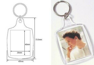Clear Acrylic Plastic BLANK KEYRINGS 45 x 35 mm Insert - PASSPORT PHOTO SIZE(UK