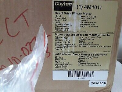 Dayton 4M101J Direct Drive Blower Motor HP:1/2 Frame:48YZ Rpm:1075/3Spd