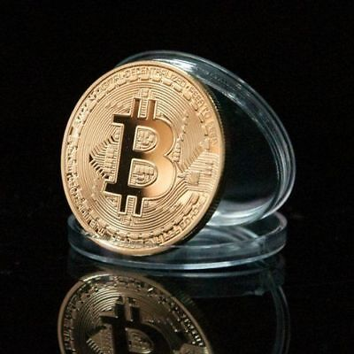 Bitcoin Commemorative Round Collectors Coin .999 Fine Gold Plated Style