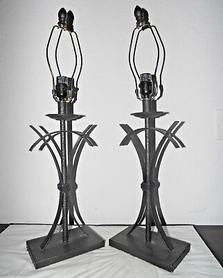 "Lamps A Of Pair 28""H Fancy Black Curled Wrought Iron Candlestick Table Lamps"