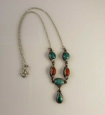 NEW ARTISAN .925 SILVER TURQUOISE RED CORAL CHOKER NECKLACE Nepal HANDCRAFTED