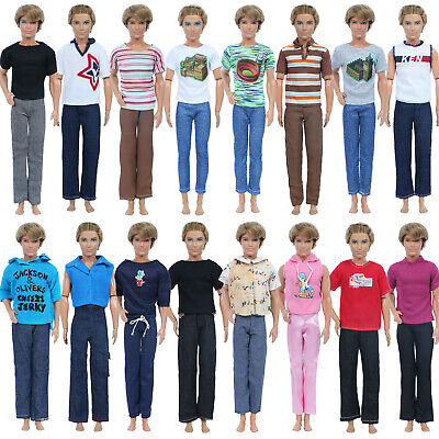 10 Random Handmade Men Outfits Shirt Pants Summer Clothes For 12 in. Ken Doll