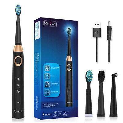 Whiten & Polish Fairywill Sonic Electric Toothbrush Including 3 Heads USB IPX7