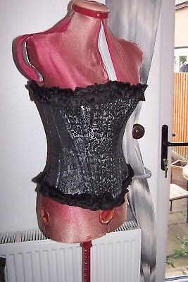 BLACK shimmer PEWTER GREY brocade STEEL BONE overbust CORSET XS 6 8 gothic