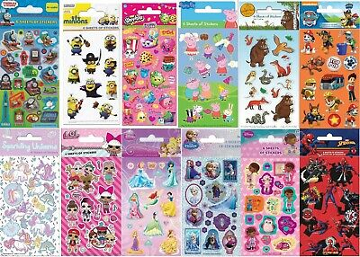 Children's Character Fun Stickers 6 Sheets Birthday Party Pack Loot Bag Fillers