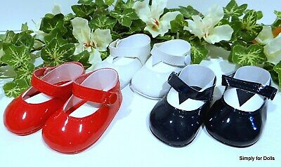 """Set 3 RED WHITE BLUE Patent Mary Jane DOLL DRESS SHOES fits 18"""" AMERICAN GIRL"""