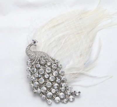 Diamante Crystal Bridal Peacock Feather Net Wedding Hair Clip Accessories