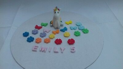 Unicorn, Butterflyes and Flowers Edible Personalised Cake Topper