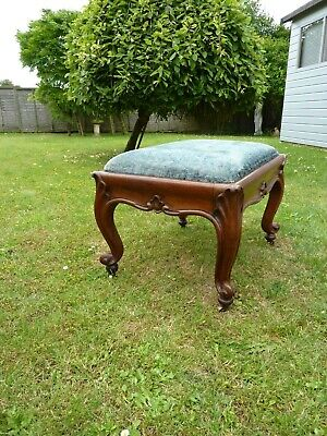 Antique Carved Mahogany French  Footstool Drop In Seat Original Brass Castors