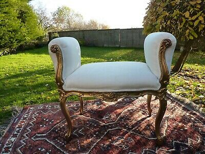 French Louis Style Stool Gilded Carved Boudoir Bench Seat