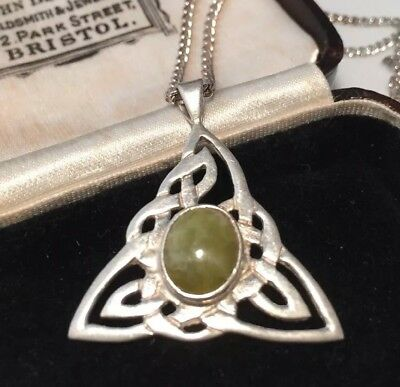 Vintage jewellery lovely sterling silver and Connemara Marble Celtic pendant