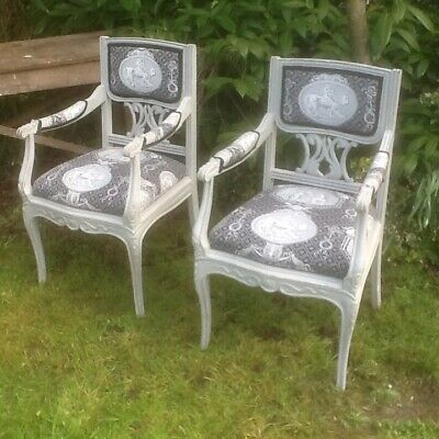 pair of french Louis style chairs painted chatuax country house arm chairs