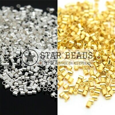 1,000 X 1.5Mm Silver / Gold Plated Tube Crimp Beads For Jewellery Making