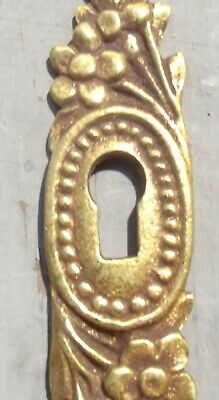 Set Antique French escutcheon  Vintage gilded bronze decorative key hole