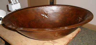 Hammered Copper Oval Sink With Stars Detail Drop in Or Under mount Bathroom NEW