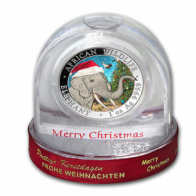 2018 Christmas ELEPHANT in Snow Globe 1 oz .9999 Silver Coin Somalia IN HAND!