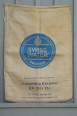Old Vintage Burlap Coffee Bean Gunny Sack Bag SWISS WATER Decaffeinated Coffee