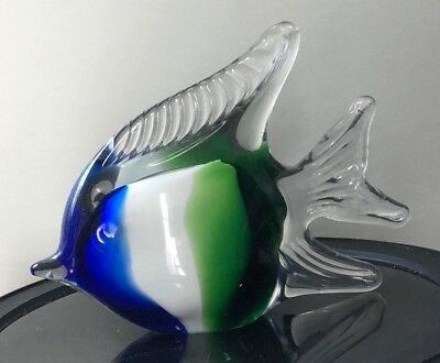 Murano Style hand blown art glass FISH paperweight figurine blue green white