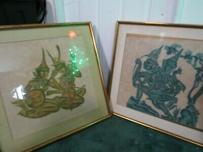 "Vintage Set Of 2 Thai Temple Rubbing On Rice Paper Seated Musicians Framed 26""L"