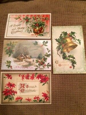 Postcard 4 Victorian Merry Christmas 1907-12 Bell Poinsettia Holly Vintage