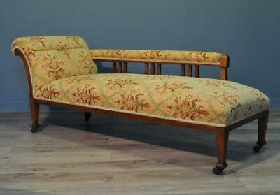 Attractive Large Antique Edwardian Oak Day Bed Chaise Longue Sofa