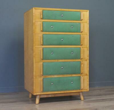 Attractive Tall Stylish Vintage Retro Satinwood Chest Of Five Graduated Drawers