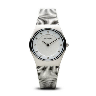 BERING Classic 27mm Brushed Silver Swarovski Markers Womens Watch 11927-000