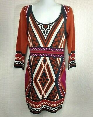58709c6836e Flying Tomato Orange Pink Sweater Dress Size M Tribal Aztec Print  Anthropologie