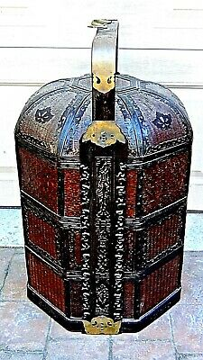 Antique Chinese Octagonal 3-Tier Woven Wicker Carved Decorated Wedding Basket