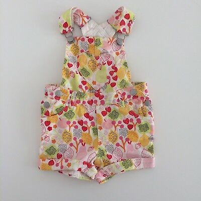 Baby Girls H&M Multi Colour Fruit Print Shorts Dungarees Size 4-6 Months