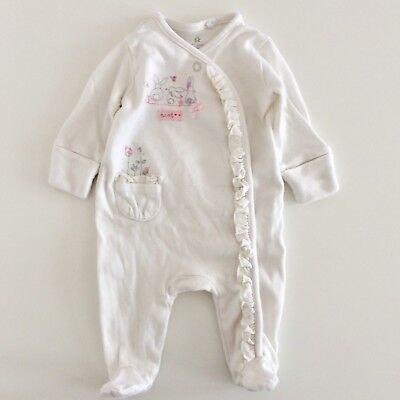 Baby Girls NEXT White Bunny Rabbit Ruffle Edged Babygrow Size 0-1 Months