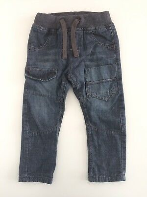Baby Boys Toddlers NEXT Grey Blue Soft Denim Fully Lined Jeans Size 12-18 Months