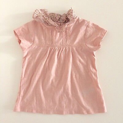Baby Girls NEXT Pink Jersey Floral Ruffle Top Size 6-9 Months