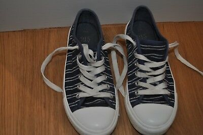 GIRLS CANVAS SHOES SIZE UK 3 EUR 36 NAVY BLUE LACE UP TRAINERS From New Look
