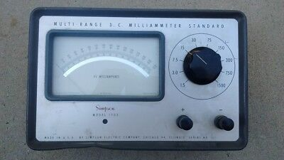 Simpson Model 1702 Multi-Range DC Milliammeter