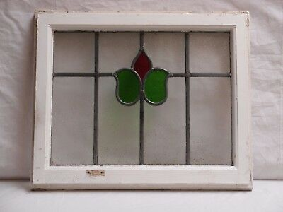 ANTIQUE 1920s LEADED LIGHT BUTTERFLY STYLE STAINED GLASS WINDOWS PINE FRAME