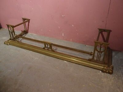"Antique Victorian Brass ""Arts & Crafts"" Fender 54"" Wide Overall"