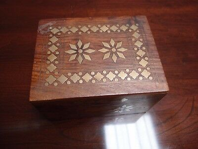 Vintage Small Mahogany Trinket Box Brass Inlaid