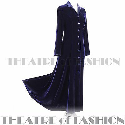 COAT DRESS VELVET SILK VINTAGE LAURA ASHLEY 12 14 RIDING VICTORIAN 30s EDWARDIAN