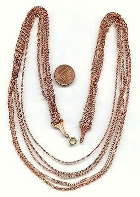 """1 VINTAGE COPPER COATED STEEL GRADUATED BIB STYLE 5 CHAIN 18/"""" NECKLACE  N53"""