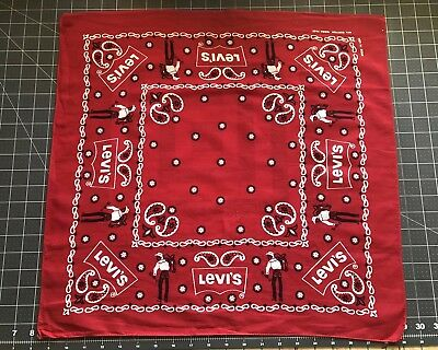 Vintage Levis Cowboy Bandanna Saddle man Western Dead-stock USA Cotton Wash