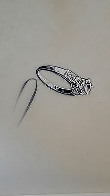 DESPRES Dessin original GOUACHE Bague 5 diamants BIJOU JOAILLERIE ART DECO 1930