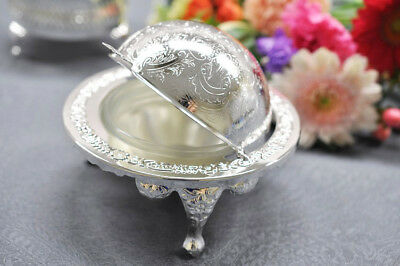 Vintage Queen Anne Silver Plated Revolving Butter Dish/Globe Sugar Bowl- Gift
